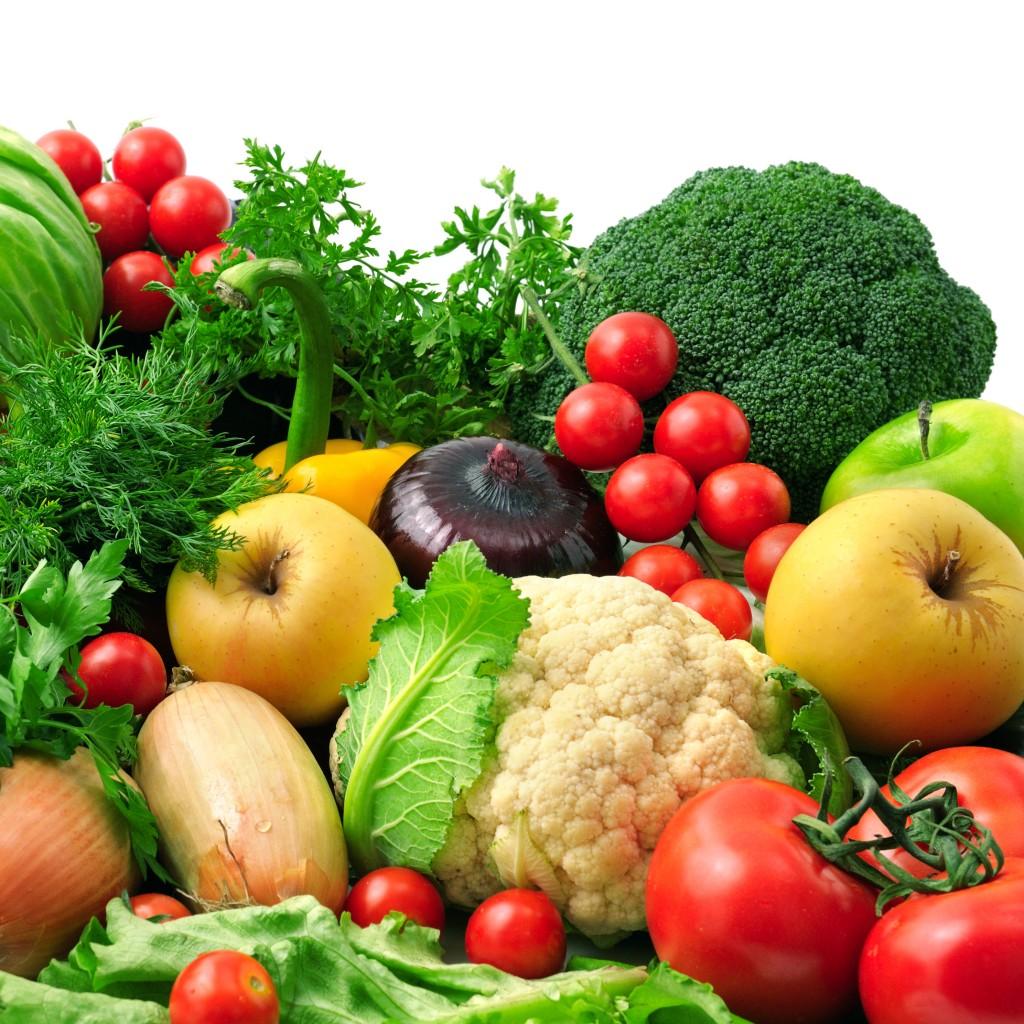 raw food på et billede med grøntsager