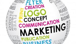 Globus med tekst som siganllerer markedsføring - marketing